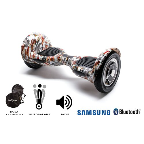 Hoverboard Smart Balance™ Premium Brand, OffRoad Tattoo, 10 inch, Bluetooth,  Samsung Cell battery, Built-in speakers, AutoBalans, 700W, LED