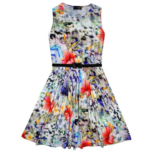 Kids Girls Skater Dress Floral Black Print Party Fashion Midi Dresses 7-13 Years