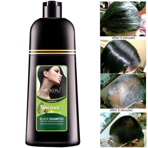 Black Hair Dye Shampoo Permanent Colour MOKERU Fast Dying Grey White