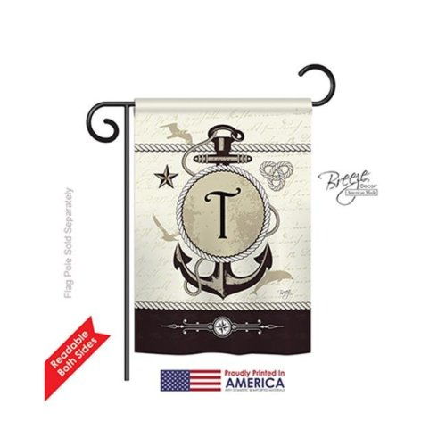 Breeze Decor 80202 Nautical T Monogram 2-Sided Impression Garden Flag - 13 x 18.5 in.