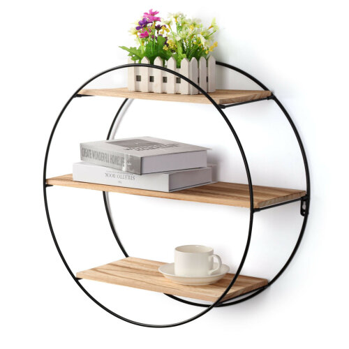 Round Floating Metal Shelving Unit   Vintage Wooden Shelf Unit