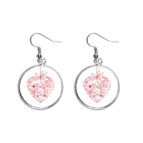 Flowers Vines Valentine's Day Red Ear Dangle Silver Drop Earring Jewelry Woman