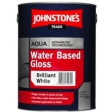 Johnstone's Trade Aqua Water Based Gloss Brilliant White 1L with Avenue touch up brush