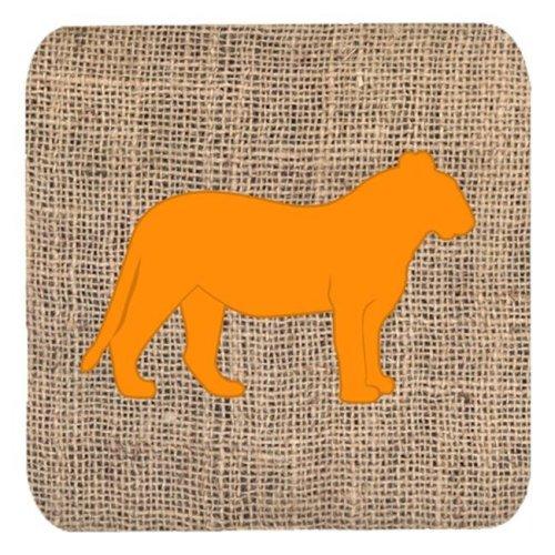 Tiger Burlap And Orange Foam Coasters - Set 4, 3.5 x 3.5 In.