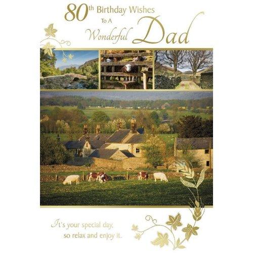 80th Birthday Wishes To A Wonderful Dad Countryside Design Happy Birthday Card