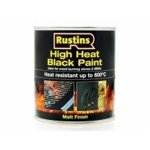 Rustins HRBL500 High Heat Paint 600°C Black 500ml