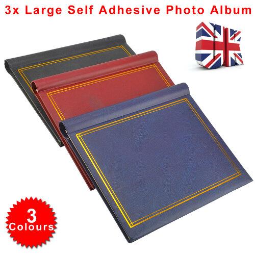 3 Large  Photo Album Total 60 Sheets 120 Sides Red Blue Black