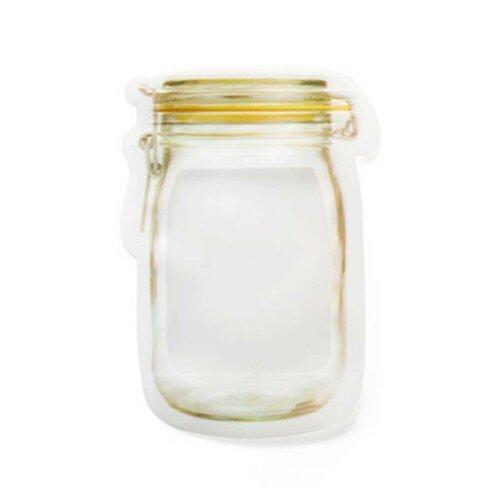 (S(1PC)) Mason Jar Bottles Bags Silicone Food Storage Zipper Lock Reusable Bag Clear