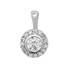 Childrens 9ct White Gold 0.25ct Diamond Set Pendant On A Prince of Wales Necklace