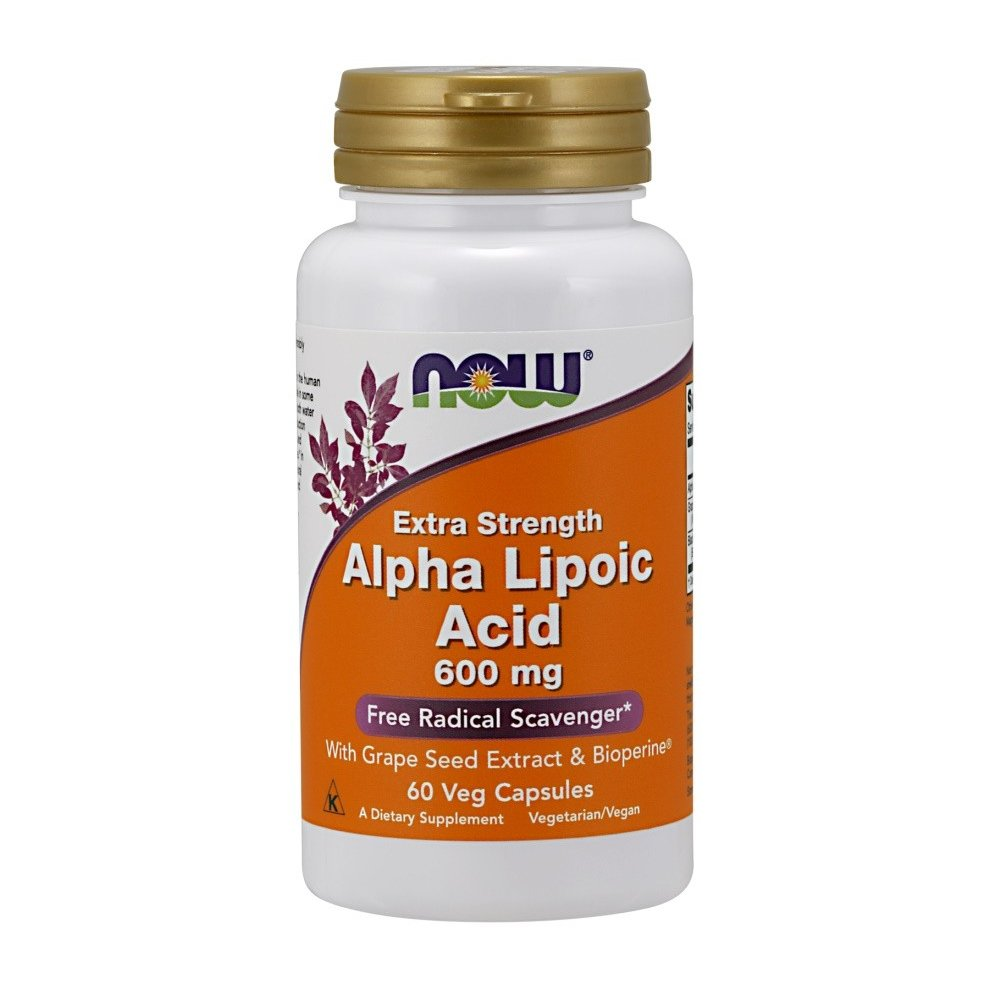 NOW Foods Alpha Lipoic Acid with Grape Seed Extract & Bioperine, 600mg , 60 vcaps