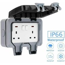 IP66 Waterproof Outdoor 13A Double UK Plug Socket Box Switch Wall Outlets for Park Shop Garden Party