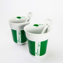 Baci Milano Set of 2 Cappuccino Cups & Spoons, Green
