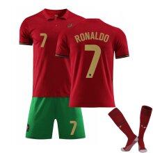 Portugal Ronaldo Home Red 2021 Soccer Jersey Kit for Kids Teens