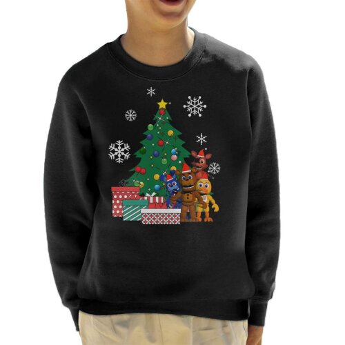 (9-11 Years, Black) Five Nights At Freddys Around The Christmas Tree Kid's Sweatshirt