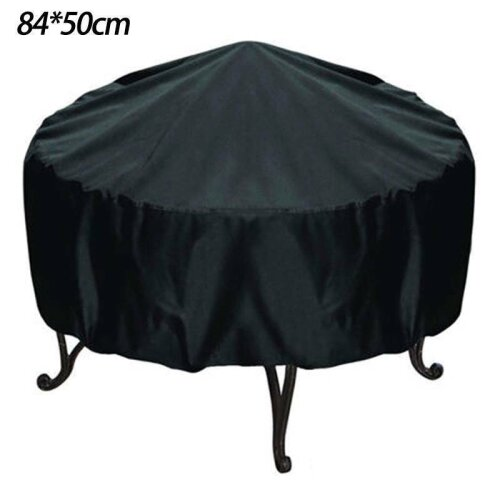 (84 x 50 CM) Fire Pit Cover Heavy Duty Round Waterproof UV Protection Patio Outdoor Garden