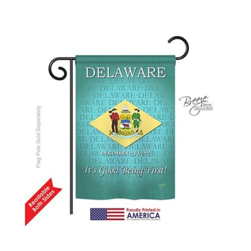 Breeze Decor 58139 States Delaware 2-Sided Impression Garden Flag - 13 x 18.5 in.