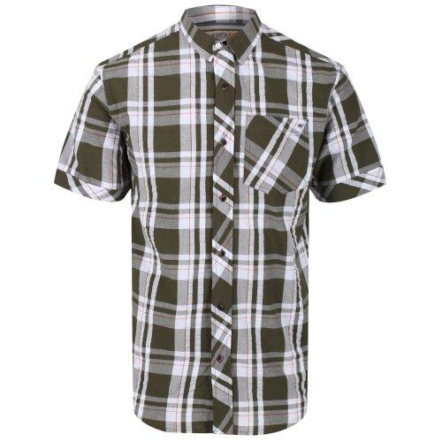 (XXL, White/Camo Green) Regatta Mens Deakin III Short Sleeve Checked Shirt
