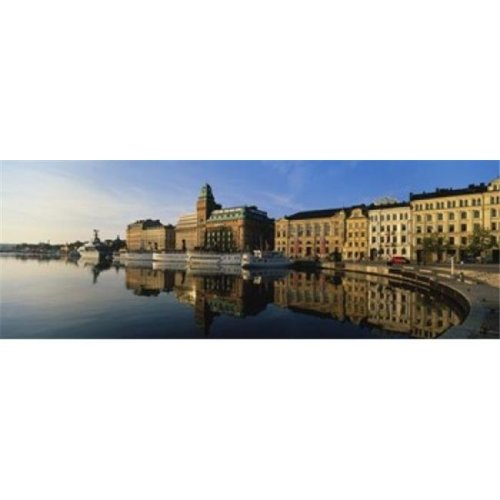 Reflection Of Buildings On Water  Stockholm  Sweden Poster Print by  - 36 x 12