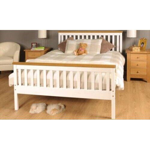 4ft6 Double Talsi Wooden Bed Frame Caramel Bar with Kerri Mattress