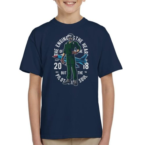 (X-Large (12-13 yrs)) Pilot The Engine Is The Heart Kid's T-Shirt