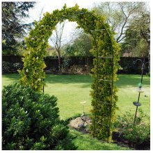 Kingfisher Green Metal Garden Arch For Climbing Plants & Roses - 2.4m