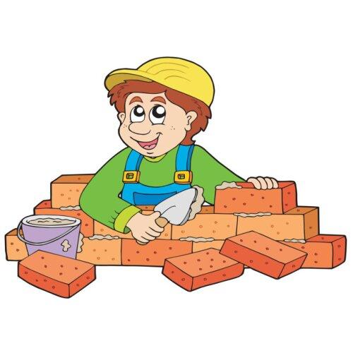 Bricklayer building a wall birthday card - boy