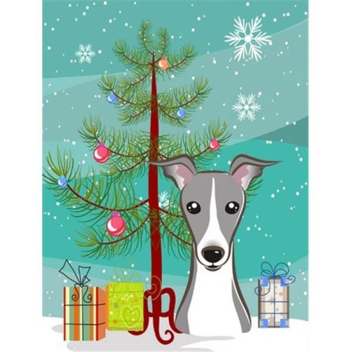 Christmas Tree And Italian Greyhound Flag Garden Size