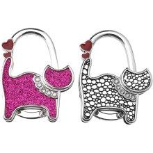 YINETTECH Pink Black Handbag Hanger Potable Folding Alloy Purse Holder Table Hook 2 Pcs
