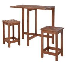 idooka Wooden Foldable Garden Furniture Bar Table and Stools Set - FSC Acacia Wood Bistro Balcony Furniture for Patio, Gazebo, Gardens - Pub Bar