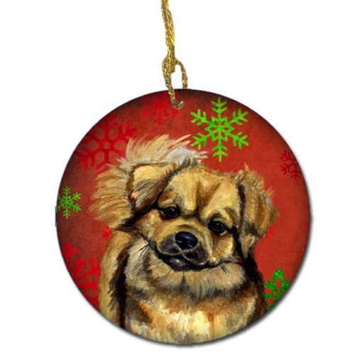 Tibetan Spaniel Red Snowflake Holiday Christmas Ceramic Ornament