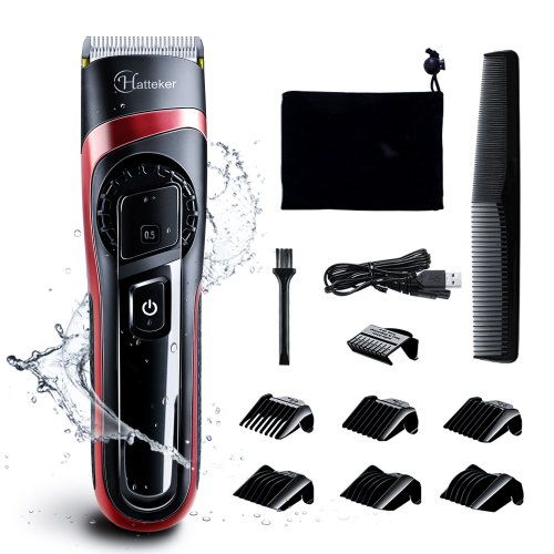 Hatteker Mens Hair Clipper Cordless Rechargeable  Waterproof Electric Trimmer Shaver Kit