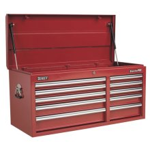 Sealey AP41110 10 Drawer Topchest with Ball Bearing Runners Heavy-Duty - Red
