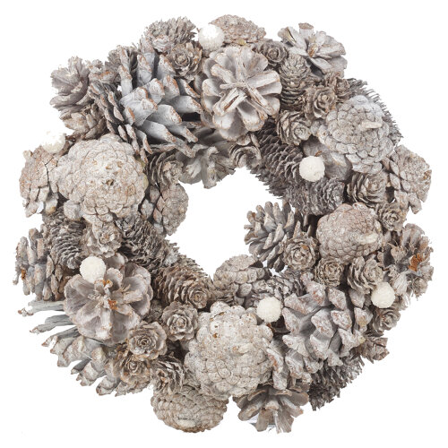 (Natural, 34cm) URBNLIVING Artificial Pinecone Christmas Wreath - 24-34cm