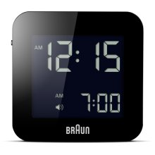 Braun Digital Travel Alarm Clock, Plastic, Black