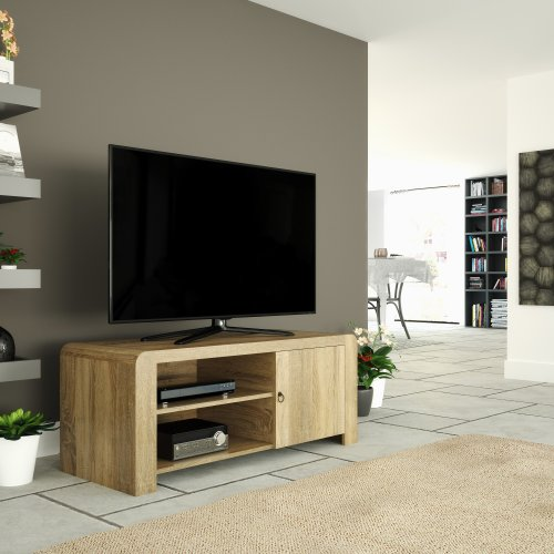"""Mahara Wood Effect TV Stand for TVs up to 55"""" with Shelves & Cupboard"""