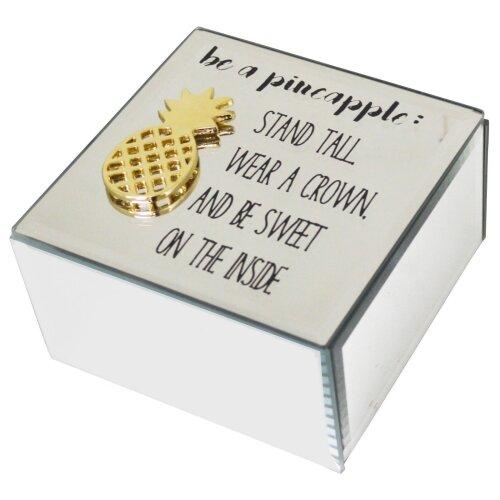 Funky Mirrored Glass Pineapple Make Up Organiser Trinket Jewellery Box