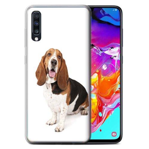 (Basset Hound) Dog Breeds Samsung Galaxy A70 2019 Phone Case Transparent Clear Ultra Soft Flexi Silicone Gel/TPU Bumper Cover for Samsung Galaxy A70 2019