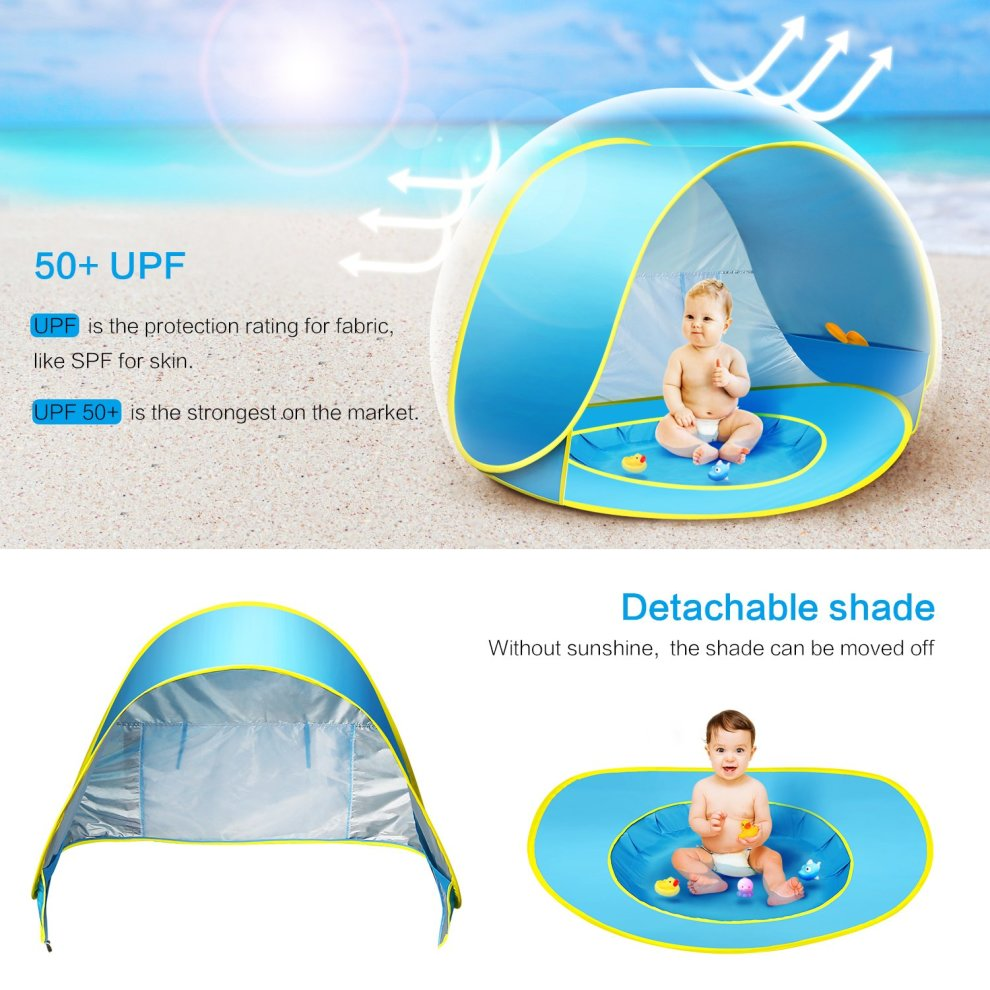 Ceekii Outdoor Automatic Pop Up Baby Beach Tent Infant Portable Cabana Shade Paddling Pool UV Protection Sun Shelter Blue for Family Garden Camping