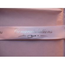 """2 Metres of Club Green """"Congratulations"""" Ribbon - White With Silver Writing - 20mm Wide"""