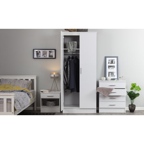 White Gloss 3 PIECE Bedroom Furniture Set - Wardrobe Chest Bedside