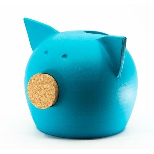 (BLUE, M) Chalk Collection Medium Blue Piggy Bank & Adults | Handmade