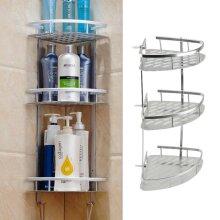 3 Tier Bathroom Corner Shower Shelf Rack Organiser Bath Accessory Set