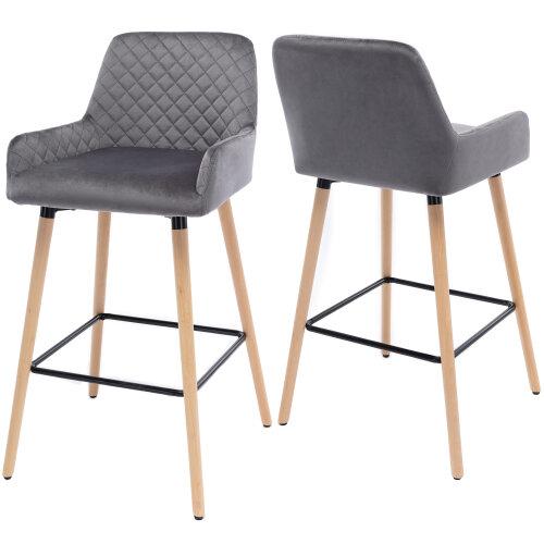 Grey Bar Stool Set of 2 PU Leather/Velvet Backrest & Armrest Black Solid Beech Legs Counter Breakfast Chairs Kitchen