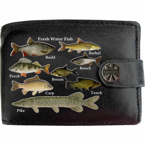 Freshwater Fishermans Fishing Mens Wallet Chain Leather Coin Pocket Klassek RFID Blocking Credit Card Slots and Metal Gift Box