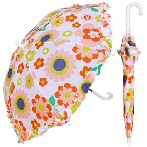 RainStoppers W104CHRETFLO 32 in. Childrens Retro Flower Print Umbrella, 3 Piece