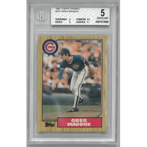 Athlon Sports CTBL-022093 Chicago Cubs Greg Maddux 1987 Topps Traded Rookie Baseball Card No.70T- BGS Graded 5 Excellent