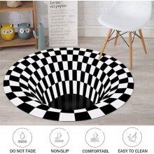 3D printed Round Vortex Illusion Anti-slip Living-room Rug Carpet