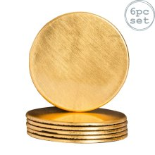 Round Drinks Coasters Drinking Dining Mat Coaster in Gold - 100mm - x6