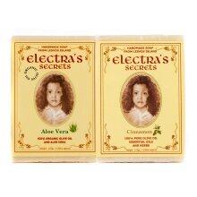 2 X Natural Olive Oil Soap with Herbs- Aloe Vera and Cinnamon