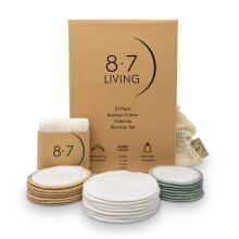 8.7 LIVING 23PC Bamboo Cotton Reusable MakeUp Remover Pads+Headband Set